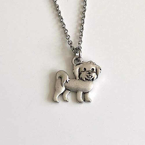 Maltese Necklace on Stainless Steel Chain - Maltipoo Dog Breed Jewelry - Dog Mom Gift