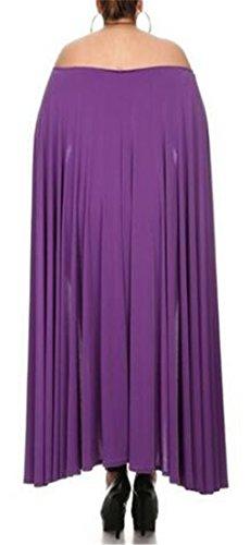 Cruiize Des Femmes De Couleur Unie Cape Classique De Robe Crayon Moulante Épaule Violet