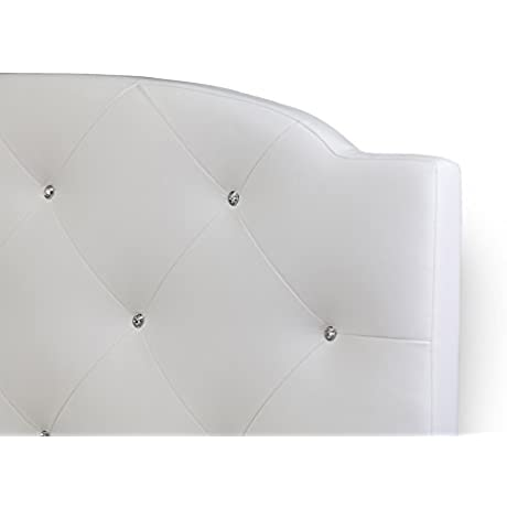 Contemporary Queen Size Bed In White Faux Leather