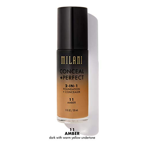 (Milani Conceal + Perfect 2-in-1 Foundation + Concealer - Amber (1 Fl. Oz.) Cruelty-Free Foundation that Covers Under-Eye Circles, Blemishes & Skin Discoloration for a Flawless Finish )