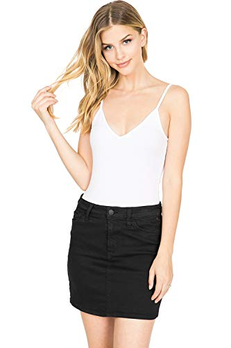 Juniors Denim Mini Skirt - Celebrity Pink Women's Juniors Mid Waist Distressed Denim Mini Skirt (1, Classic Black)