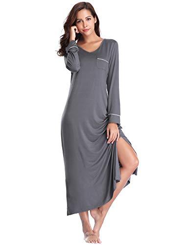 Lusofie Long Nightgowns for Womens V-Neck Long Sleeve Soft Sleepshirt (Grey, - Long Sleepshirt