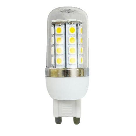 zono alta calidad G9 Regulable 7 W 36 5050 SMD Bombilla LED de luz maíz lámpara w/Transparente Cubierta de plástico: Amazon.es: Iluminación