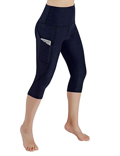 ODODOS High Waist Out Pocket Yoga Capris Pants Tummy Control Workout Running 4 Way Stretch Yoga Leggings,Navy,Large
