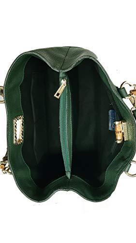 in italy in e a borsa manici con bambù made mano tracolla vera pelle 1TxS7aq
