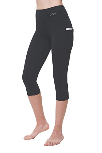 NIRLON Capri Leggings for Women High Waist Workout Capris Yoga Pants Plus Size (2XL, Graphite+Pocket 18