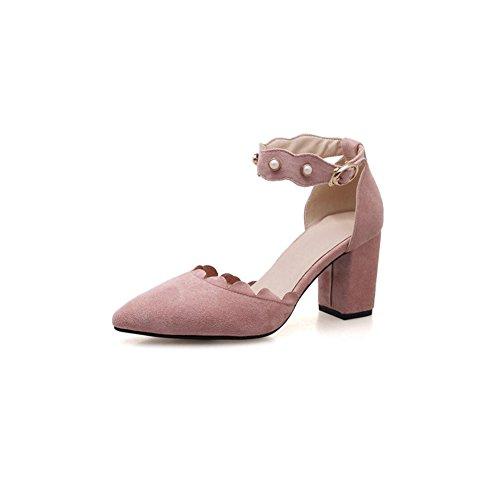 DALL Zapatos de tacón Ly-685 Incrustaciones De Perlas Áspero Talón Zapatos De Mujer Apuntado Cabeza Tacones Sandalias Primavera Y Verano 7cm De Alto (Color : Amarillo, Tamaño : EU 38/UK5.5/CN38) Pink