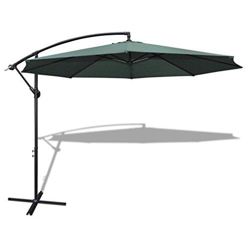 11' Offset Hanging Patio Umbrella Sun Shade Free Standing Outdoor Parasol Market Umbrella with Push Button Tilt and Crank (Green)