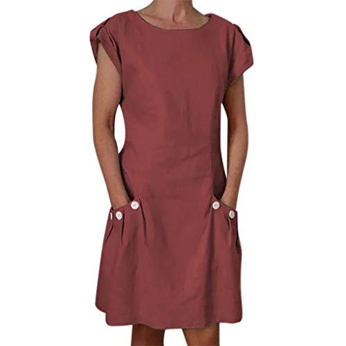 2019 Summer Women Linen Casual Solid Ruffled Pockets O-Neck Shift Buttoned-Decor Daily Dresses (Wine, L)