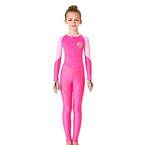 - Fine Kids Wetsuit for Boys Girls One Piece Full Body Long Sleeve Swimsuit, UV Protection Keep Warm for Scuba Diving Snorkeling Swimming Fishing (Pink, L)