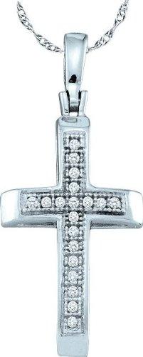10 k or blanc Diamant 0,05 Dwt Rough Pendentif Or Croix de haute qualité Or 9 Carats JewelryWeb