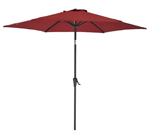 9 Ft Patio Umbrella, Garden Umbrella with 6 Ribs, Bistro Table Umbrella with Push Button Tilt and Crank,Red