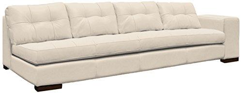 Omnia Leather Peninsula Right Arm 1 Cushion 4 Seat Sofa in Leather, Walnut Legs, Fashion Off White