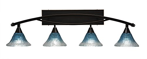 Toltec Lighting 174-BC-458 Bow 4 Light Bath Bar with 7″ Teal Crystal Glass, Black Copper Finish