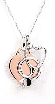 Nurse Gift Stethoscope Heart Necklace - Rose Gold Plated Silver - Nurse Gift, Nurse Graduation, Retirement Gif