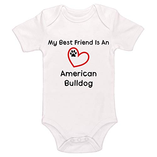 Kinacle My Best Friend is A American Bulldog Baby Bodysuit (18-24 Months, White)