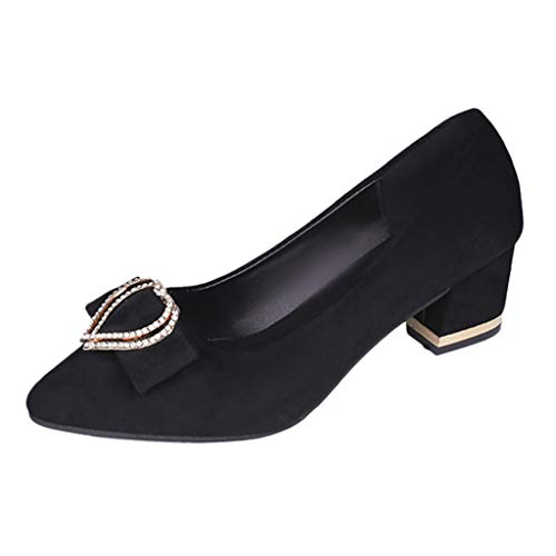 Respctful✿Women Pointed Flas, Ballet Dress Faux Suede Pointed Toe Flat with Cute Bow Ladies Slip On Closed Toe Shoes Black