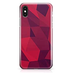 iPhone X Case Red Shades Geomaterical Pattern Low Profile Quality Wrap Around iPhone 10 Case