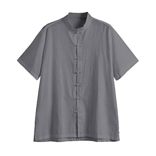 (PASATO Mens Short Long Sleeve Henley Shirt Leisure Beach Yoga Loose Fit Tops Blouse Hippie Shirt V-Neck Beach Yoga Top(b-Gray,XXXL=US:XXL) )