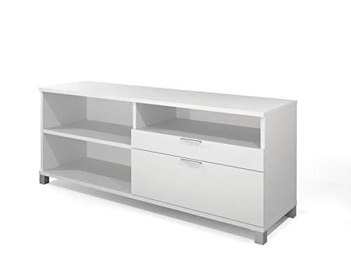Modern Credenza in White with File Drawer