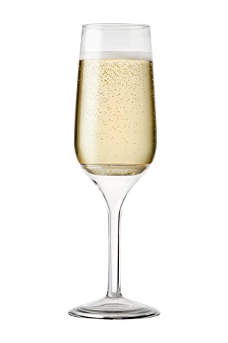 TOSSWARE 6oz Stemmed Flute - recyclable champagne plastic cup - SET OF 12 - detachable stem, shatterproof and BPA-free flute ()