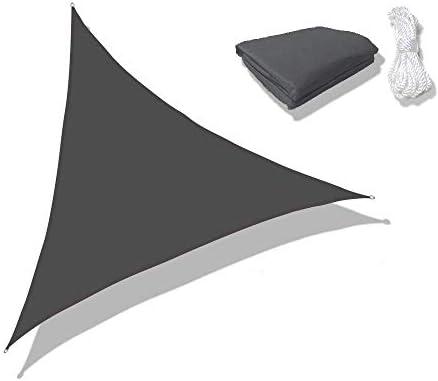 Sunnykud Triangle 16'5''x16'5''x16'5''Dark Gray Waterproof Sun Shade Sail Triangle Canopy Perfect