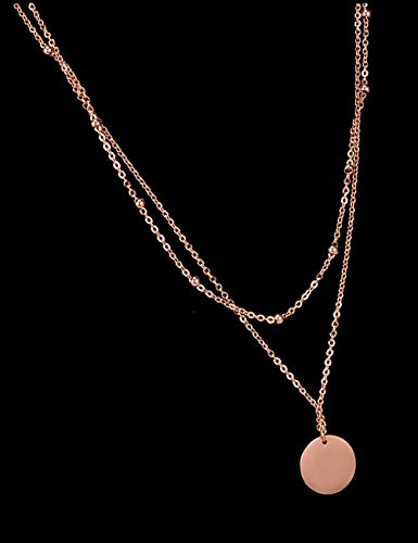Dainty Rose Gold Layered Necklace for Women - Titanium Steel Star and Dot Choker Necklace Ideal Gift for Girls and Ladies,Charm Disk and Circle Pendant Stainless Stell Mom Necklace