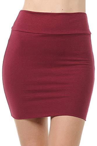 Fashion Aktiv Basic Double-Layer Cotton Simple Stretchy Tube Pencil Mini Skirt (X-Large, Maroon)