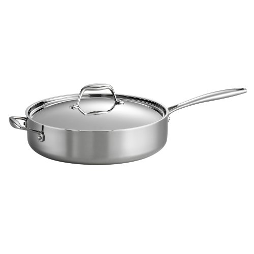 Tramontina 80116/018DS Gourmet Stainless Steel Induction-Ready Tri-Ply Clad Covered Deep Saute Pan, 5-Quart, NSF-Certified, Made in (Induction Covered Saute Pan)