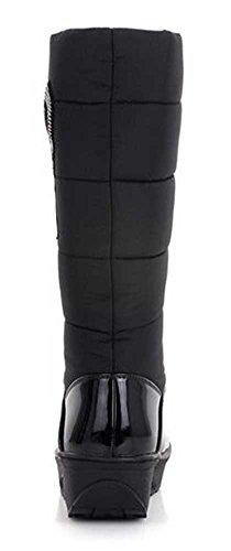 Warm Rhinestone Faux Fur Lined Platform Heel Mid Black Waterproof Winter Womens Wedge CHFSO Boots Trendy Calf Mid Snow OAxtqR14w