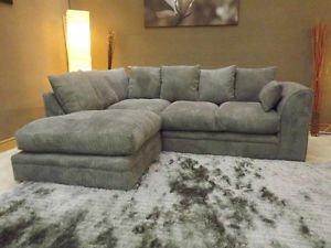 Superior Online Sofa Wholesale Dylan Jumbo Sofas / Wohnzimmergarnitur, Kord, Grau,  Eckgarnitur, Schwarz