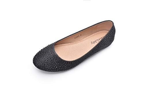Mila Lady Sparkly Crystals Rhinestone Comfortable Slip On Ballet Flat Shoes for Women Wedding Party Office, Vikki Black Size 7.0