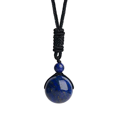 iSTONE Unisex Genuine Round Gemstone Beads Pendant Necklace with Adjustable Nylon Cord 24 Inch (Lapis Lazuli)