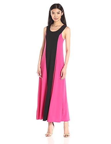 Women's Sleeveless Black Stripe Color-Block Sleeveless Maxi Dress