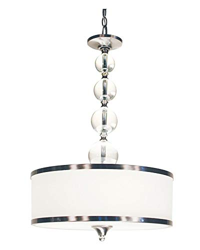 Z-Lite 308P-BN Cosmopolitan Three Light Pendant, Metal Frame, Brushed Nickel Finish and White Shade of Glass Material