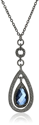 1928 Jewelry Black-Tone Suspended Blue Teardrop Pendant Necklace, 16