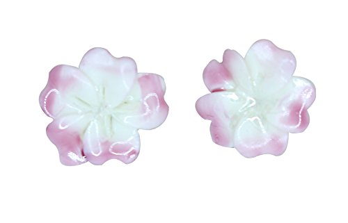(Belleek Parian China Plumeria Earrings Pink)