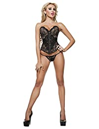 Starline Women's Bella Night Sexy Lace Corset with Panty