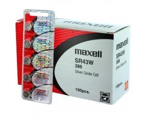 100 pcs Maxell SR43W SG12 SR43 386 Silver Oxide Watch Battery by Maxell