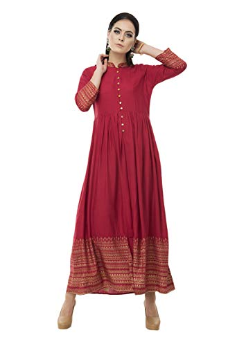 SABHYATA Womens Kurta Indian Kurtis for Women Casual Tunic Top Long Dress (Medium, Maroon) by SABHYATA
