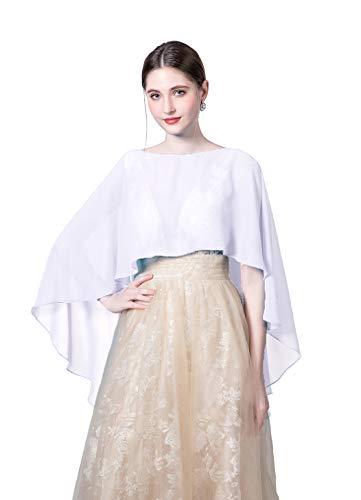 Jacket Bridal Stock - Wedding Capes Womens Soft Chiffon Shrug Bridal Long Shawl and Wraps, White, Free Size
