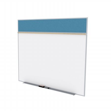 Ghent SPC512A-V-191 5 ft. x 12 ft. Style A Combination Unit - Porcelain Magnetic Whiteboard and Vinyl Fabric Tackboard - Ocean by Ghent