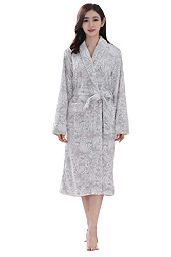 Foucome Fleece Robes for Women with Plush Cozy Soft Comfy Warm Printed Bathrobe Nightgown Sleepwear Contrast Pajamas Light Gray (The Man In The Gray Flannel Suit Novel)