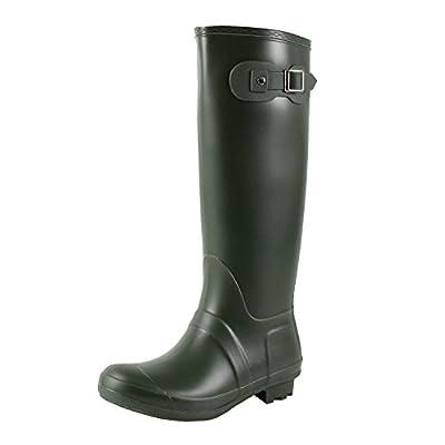 Guilty Heart Waterproof Knee High Wellington Rubber Rainboots Rain Footwear, Olive Rubber, 8 B(M) US