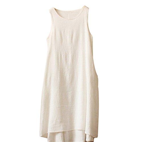 Women's Solid Color Linen Fiber Sleeveless Skirt Casual Short Vest Dress (White)