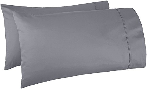 Precious Star Linen American Choice! Genuine 425 Thread count Egyptian Cotton Soft 2-Pieces Pillowcase Solid/Plain (King Extra Wide {22 x 40 Inch }, Dark Grey)