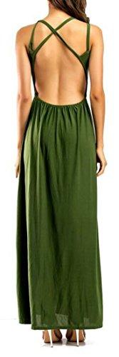 Solide Lungo Spacco Cromoncent Verde Backless Donne Vestito Tagliato Sleeveless zxwOS1tnOq