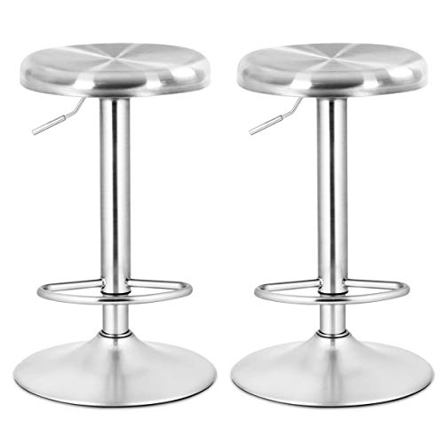 COSTWAY Bar Stool, Modern Swivel Adjustable Height Barstool, Stainless Steel Round Top Barstools with Footrest, for Pub Bistro Kitchen Dining Set of -