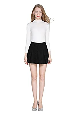 Little Smily Women's A Line Faux Suede High Waist Pleated Mini Skirt