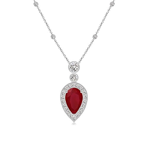 July Birthstone - Pear Shaped Ruby Necklace Pendant Necklace for Women with Diamond Halo in 14K White Gold (8x5mm Ruby) - Pear Shaped Ruby Necklace